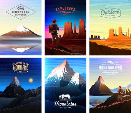 산봉우리 카드 또는 브로셔. 자연 관광. 낮에 일찍 풍경화하십시오. 야외 언덕 꼭대기. 빈티지 포스터 또는 배경 세트. 전단지, 책 표지 및 배지 템플릿. 스톡 콘텐츠 - 100199179