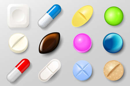Set of pills and painkiller capsules. Vitamin tablets for good health and antibiotic medications in blister pack. Pharmacy and medical drug on white background.