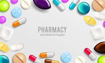Pilules de fond comprimés de vitamines pour une bonne santé et des médicaments antibiotiques. Bannière d'affiche pour le site Web. Pharmacie, gélules analgésiques et médicament médical.