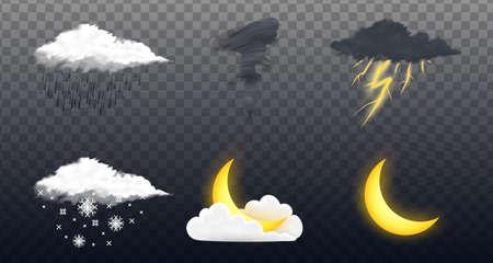 現代の現実的な気象アイコンセット。透明な背景上の気象学のシンボル。モバイルアプリ、印刷またはウェブ用のカラーベクトルイラスト。雷雨と雨、晴れと曇り、嵐と雪。