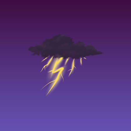 Modern Realistic weather icon. Meteorology symbol on dark background. Color Vector illustration for mobile app, print or web. lightning in the clouds.