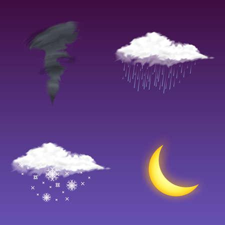 現代の現実的な天気アイコン。暗い背景に気象学のシンボル。モバイルアプリ、印刷またはウェブ用のカラーベクトルイラスト。月と稲妻、雲の上の三日月。