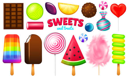 Realistic Sweet candies set. Swirl caramel, assorted circle lollipops, dragee and chocolates, fruit jelly, Sugar clouds, cotton and watermelon. 3d vector illustration. holiday colors in modern style.
