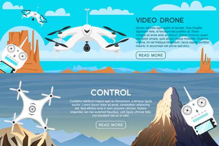 カードとリモートコントロールのための現代の空気ドローン。ビデオと写真。科学と技術。カメラを空中に持つ無線ロボット。革新的なシステム。背景またはポスター。