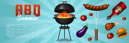 Barbecue grill elements set isolated on red background. BBQ party poster. Meat restaurant at home. Charcoal kettle with tools, sauce and foods. Kitchen equipment for menu Cooking outdoors
