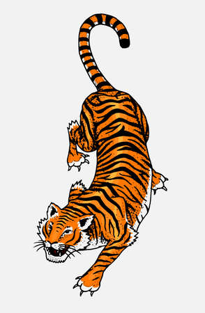 Japanese Wild Tiger Asian Cat Top View Fashion Patch Tattoo Artwork For