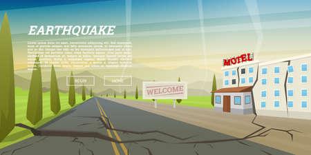 Tremblement de terre réaliste avec crevasse au sol et maison en ruine avec fissure. Catastrophe naturelle ou cataclysme, catastrophe et crise. Faille terrestre. Fond de paysage pour affiche ou carte. Illustration vectorielle.