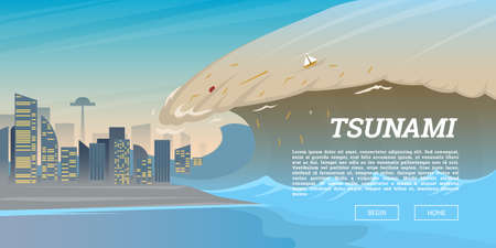 Tsunami on tropical beach. Big waves and ocean surface. Landscape Flood and Disaster. City on seashore. Summer vacation and catastrophe. Natural cataclysm crisis. High water and big waves Background. Illustration