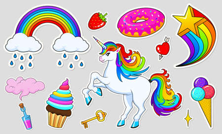 Set of girls fashion cute patches, fun stickers, badges and pins. Collection different elements. Unicorn lips and ponies, rainbow and sweets for Princess. Vector trendy illustration.