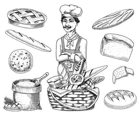 Culinaire baas, chef-kok, bakker in schort. Zak met bloem of mand. Gegraveerde hand getrokken in oude schets vintage stijl voor label en menu. interieur van bakkerijwinkel. biologisch voedsel brood brood gebak.