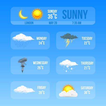 現代の現実的な気象アイコンセット。青い背景に気象学のシンボル。モバイルアプリ、印刷またはウェブ用のカラーベクトルイラスト。雷雨と雨、晴れと曇り、嵐と雪。