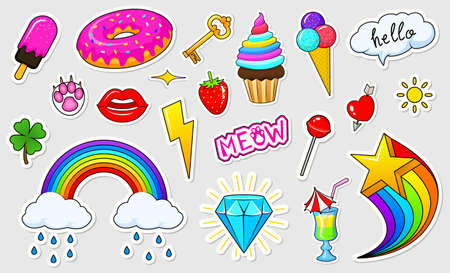 Set of girls fashion cute patches, fun stickers, badges and pins. Collection different elements. Princess and unicorn, lips and ponies, rainbow and sweets. Vector trendy illustration.