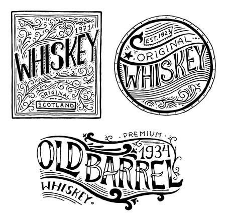 Distintivo di whisky americano vintage. Etichetta alcolica con elementi calligrafici. Iscrizione di schizzo inciso disegnato a mano per t-shirt. Cornice classica per banner poster bottiglia. Bicchiere con bevanda forte.