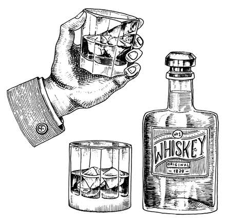 Distintivo di whisky americano vintage. Etichetta alcolica con elementi calligrafici. Cornice classica per banner poster. Bicchiere con bevanda forte. Saluti brindisi. Iscrizione di schizzo inciso disegnato a mano per t-shirt.