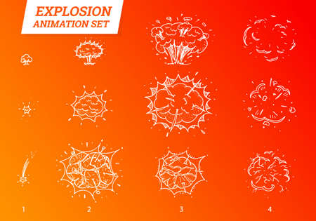 Explosions icons set on white background. Cartoon comic boom effects for emotion. Vector style. Bang burst explode flash bubble dynamite with smoke. Animation frame for game. Process steps. Hand drawn