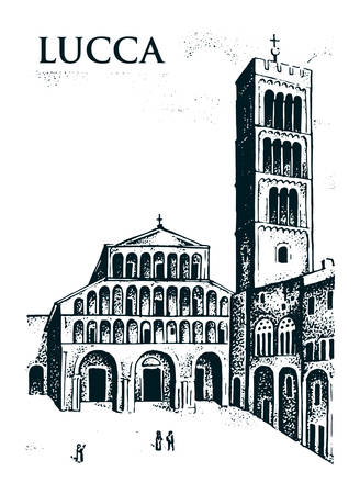 Historical old building. Facade in Lucca. Gothic Baroque style. Ancient Architecture of street in Tuscany Italy. European city on white background. Vector illustration. Hand drawn engraved sketch.
