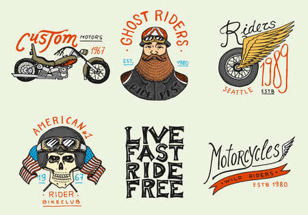 Motorcycles and biker club templates. Vintage custom skulls emblems, labels badges for t shirt. Monochrome retro style. Classic sport motorbike with racing gasoline. Hand drawn engraved sketch. Иллюстрация