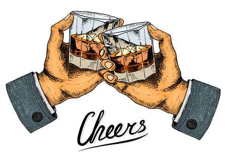 Vintage Amerikaanse whisky-badge. Alcoholisch etiket met kalligrafische elementen. Klassiek frame voor posterbanner. Glas met sterke drank. Proost toast. Hand getrokken gegraveerde schets belettering voor t-shirt.