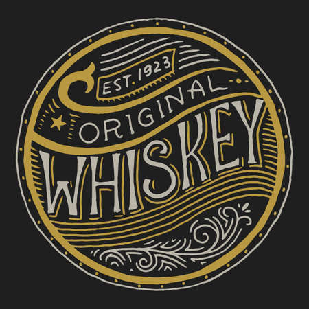 Vintage American whiskey badge. Alcoholic Label with calligraphic elements. Hand drawn engraved sketch lettering for t-shirt. Classic frame for bottle poster banner. Glass with strong drink. Çizim
