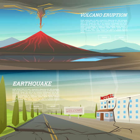 Active volcano eruption with leaky magma Background. Natural disaster or cataclysm. earthquake with ground crevice. Ruined house with crack. Fuming lava. Mountain landscapes for poster, web and card. Illustration