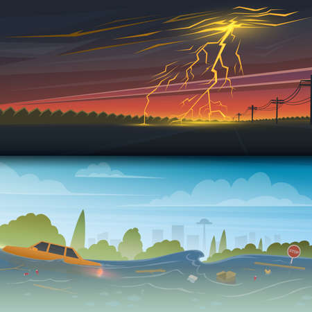 Flood or natural disaster. Lightning Strike and Rain. Thunderstorm day. Floating garbage. High water, overflow, big waves. Time of evacuation during cataclysm. Landscape Background for poster or card. Ilustração