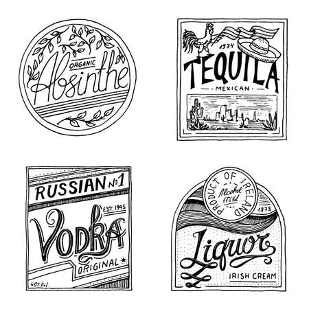 Vintage American absinthe tequila vodka liqueur badge. Alcohol Label with calligraphic elements. Classic frame for poster banner. Strong drink. Hand drawn engraved sketch lettering for t-shirt.