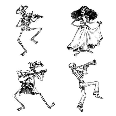 Day of the dead. Mexican national holiday. Original inscription in Spanish Dia de los Muertos. Skeletons in costumes dance, play the violin, trumpet and guitar. Hand drawn engraved sketch. Vectores
