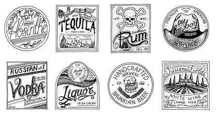 Vintage amerykański odznaka. Absynt Tequila Wódka Likier Rum Wino Mocna whisky Piwo. Etykieta alkoholowa z elementami kaligraficznymi. Ramka na baner plakatowy. Ręcznie rysowane grawerowany napis na t-shirt.