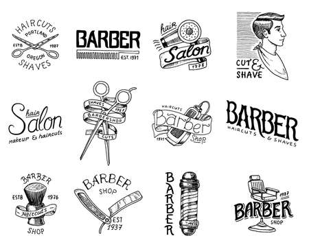 Set of barbershop badge and label, logo and hipster emblems. Tools for man icon. Haircut of beard and mustache. Brush and razor for shaving. Engraved hand drawn in old vintage sketch. Modern Lettering Illustration