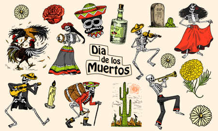 Day of the dead. Mexican national holiday. Original inscription in Spanish Dia de los Muertos. Skeletons in costumes dance, play the violin, trumpet and guitar. Hand drawn engraved sketch. Ilustração