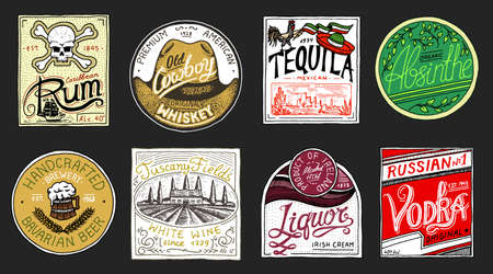 Vintage American badge. Absinthe Tequila Vodka Liqueur Rum Wine Strong whiskey Beer. Alcohol Label with calligraphic elements. Frame for poster banner. Hand drawn engraved lettering for t-shirt.