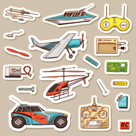 Children toys constructor. Vintage aircraft, boat, ship and car, RC transport, remote control models. Stickers for notebook. Details for service. Play Games. Engraved hand drawn sketch Stock Illustratie