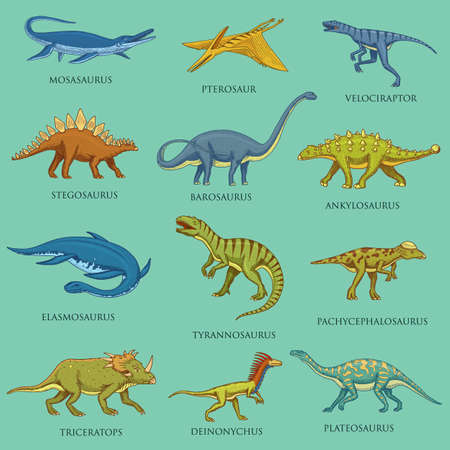 Dinosaurs set, jurassic animals. Prehistoric reptiles, Engraved hand drawn vintage sketch. pictograms collection. Tyrannosaurus rex, Triceratops, Brontosaurus, Velociraptor, Triceratops, Stegosaurus. Stock Illustratie