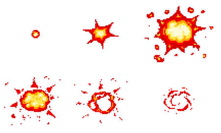 Pixel art explosions. game icons set. Comic boom flame effects for emotion. 8-Bit Vector. Bang burst explode flash nuclear bubble dynamite with smoke. Animation frame. Process steps, Video fire. Ilustração