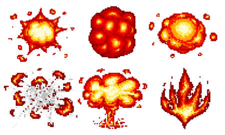 Pixel Art Explosions. Game Icons Set. Comic Boom Flame Effects ...