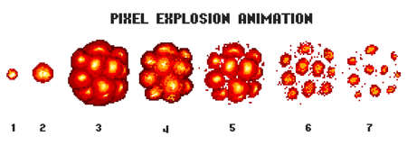 Pixel art explosions. game icons set. Comic boom flame effects for emotion. 8-Bit Vector. Bang burst explode flash nuclear bubble dynamite with smoke. Animation frame. Process steps, Video fire. Illustration