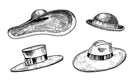 Summer vintage Hats collection for elegant woman, female and ladies. Retro fashion set. Breton Panama, Broad-brim, Slouch Cloche, Poke bonnet. Hand drawn engraved vintage sketch.