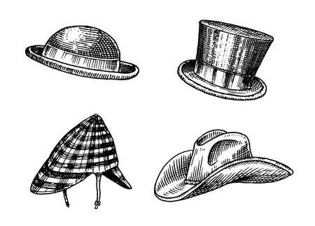 Summer vintage Hats collection for elegant men. Fedora Derby Deerstalker Homburg Bowler Straw Beret Captain Cowboy Porkpie Boater Peaked cap. Retro fashion set. English style. Hand drawn sketch Illustration