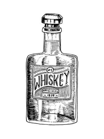 Vintage Whiskey bottle with label. American badge. Alcoholic Label with calligraphic elements. Hand drawn engraved sketch lettering for t-shirt. Classic frame for bottle poster banner. Ilustração