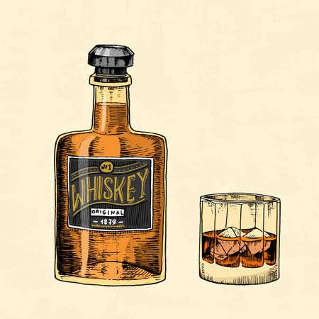Bouteille de whisky vintage avec étiquette et un verre. Badge américain. Étiquette alcoolisée avec des éléments calligraphiques. Lettrage de croquis gravé dessiné à la main pour t-shirt. Cadre classique pour bannière d'affiche de bouteille.