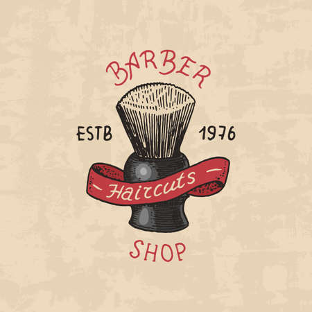 Barbershop badge label. Brush emblem for signboard Haircut of beard and mustache. Engraved hand drawn in old vintage sketch. Modern Lettering
