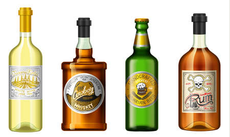 Realistic alcohol drinks in a bottle with different vintage labels. Wine whiskey beer rum. Vector illustration.