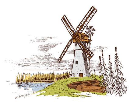 Paisaje de molino de viento en estilo vintage, retro dibujado a mano o grabado, se puede utilizar para el logotipo de panadería ecológica, campo de trigo con edificio antiguo. Producción agrícola orgánica rural. Ilustración de vector.