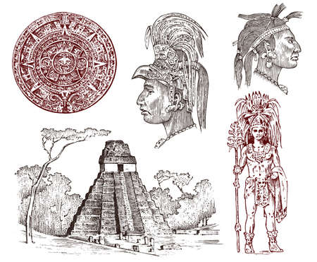 Maya Vintage pyramid, portrait of a man, traditional costume, calendar and decoration on the head. Native Aztec culture. Ancient Monochrome Mexico. Engraved hand drawn old sketch for label background 向量圖像