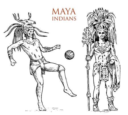 Estilo Maya Vintage. Cultura azteca. Retrato de hombre, traje típico y decoración en la cabeza. Tribu nativa, México monocromo antiguo. boceto antiguo dibujado a mano grabado. guerrero para etiqueta Ilustración de vector
