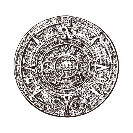 Vintage Mayan calendar. traditional native aztec culture. Ancient Monochrome Mexico. American Indians. Engraved hand drawn old sketch for label