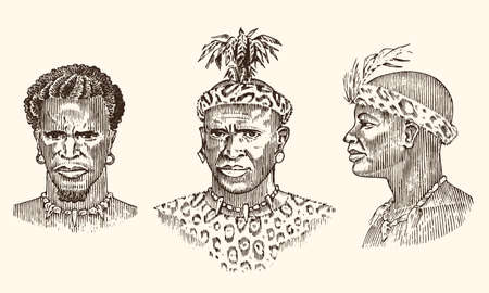 African tribes, portraits of Aborigines in traditional costumes. Australian Warlike black native man. Engraved hand drawn old monochrome Vintage sketch for label.