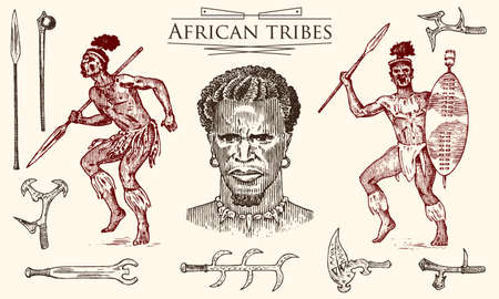 African tribes, portraits of Aborigines in traditional costumes. Australian Warlike black native man with spears and weapons. Engraved hand drawn old monochrome Vintage sketch for label