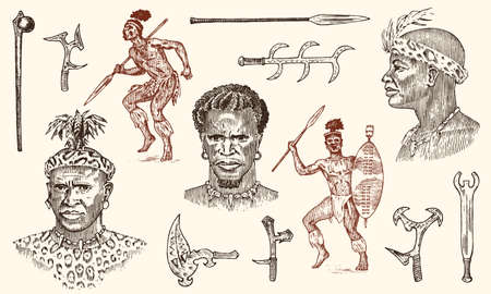 African tribes, portraits of Aborigines in traditional costumes. Australian Warlike black native man with spears and weapons. Engraved hand drawn old monochrome Vintage sketch for label Illusztráció