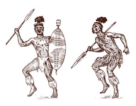 African tribes, Aborigines in traditional costumes. Australian Warlike black native man with spears and weapons. Engraved hand drawn old monochrome Vintage sketch for label